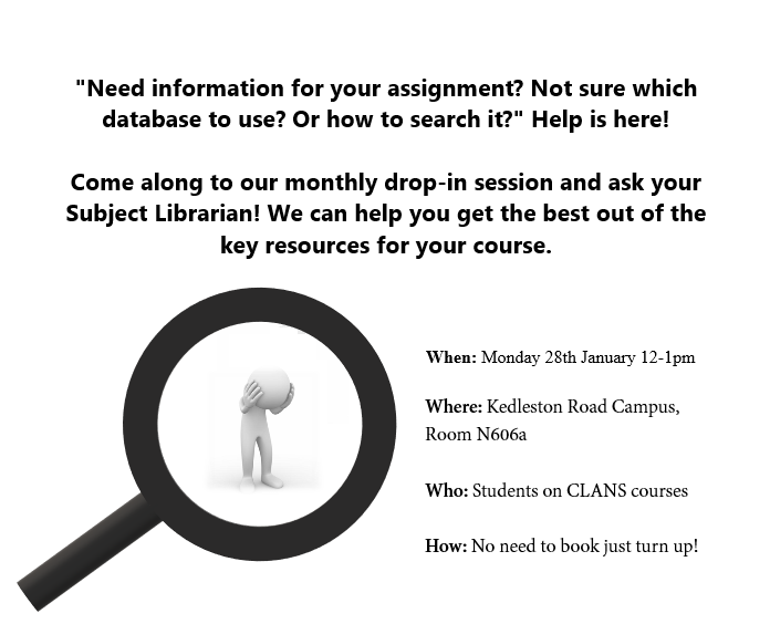 Library Support Drop-in session for CLANS students